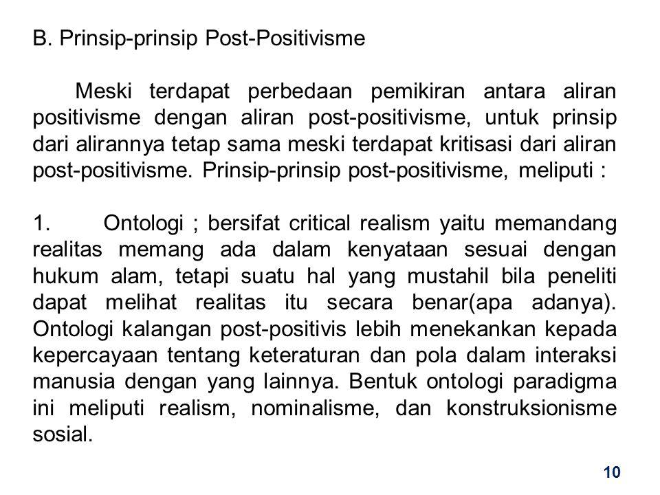 B. Prinsip-prinsip Post-Positivisme Meski terdapat perbedaan pemikiran antara aliran positivisme dengan aliran post-positivisme, untuk prinsip dari al