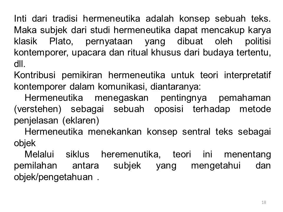 18 Inti dari tradisi hermeneutika adalah konsep sebuah teks. Maka subjek dari studi hermeneutika dapat mencakup karya klasik Plato, pernyataan yang di