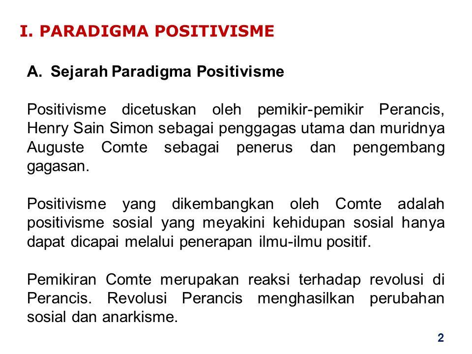I. PARADIGMA POSITIVISME A.Sejarah Paradigma Positivisme Positivisme dicetuskan oleh pemikir-pemikir Perancis, Henry Sain Simon sebagai penggagas utam