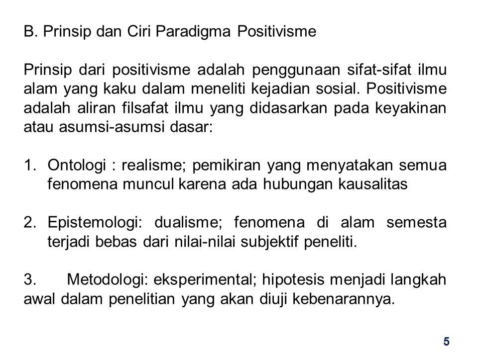 B. Prinsip dan Ciri Paradigma Positivisme Prinsip dari positivisme adalah penggunaan sifat-sifat ilmu alam yang kaku dalam meneliti kejadian sosial. P