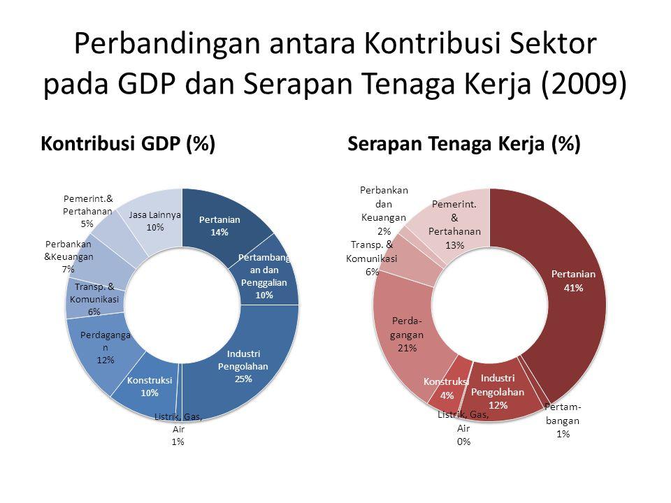 Perbandingan antara Kontribusi Sektor pada GDP dan Serapan Tenaga Kerja (2009) Kontribusi GDP (%)Serapan Tenaga Kerja (%)