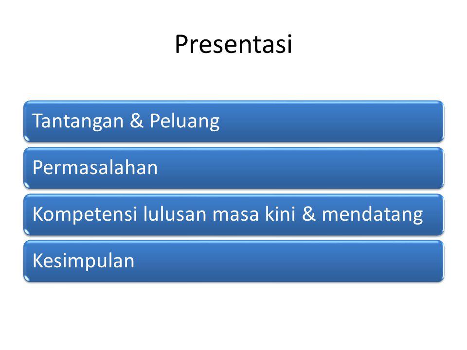 Presentasi Tantangan & PeluangPermasalahanKompetensi lulusan masa kini & mendatangKesimpulan