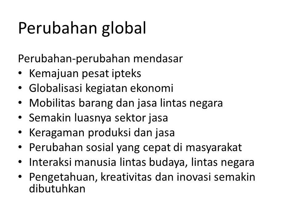 Perubahan global Perubahan-perubahan mendasar • Kemajuan pesat ipteks • Globalisasi kegiatan ekonomi • Mobilitas barang dan jasa lintas negara • Semak
