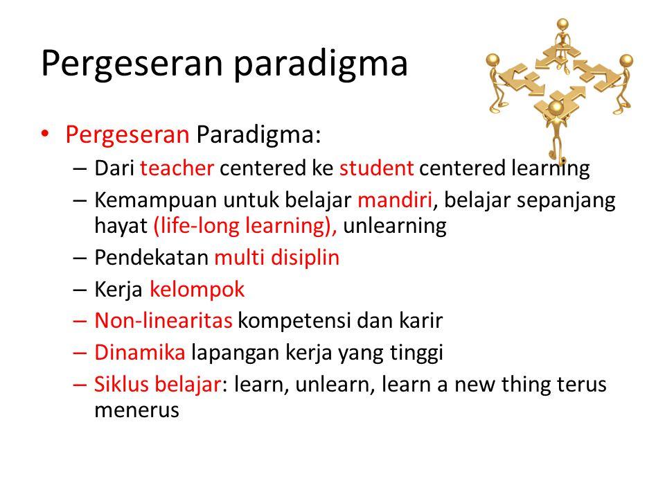 Pergeseran paradigma • Pergeseran Paradigma: – Dari teacher centered ke student centered learning – Kemampuan untuk belajar mandiri, belajar sepanjang