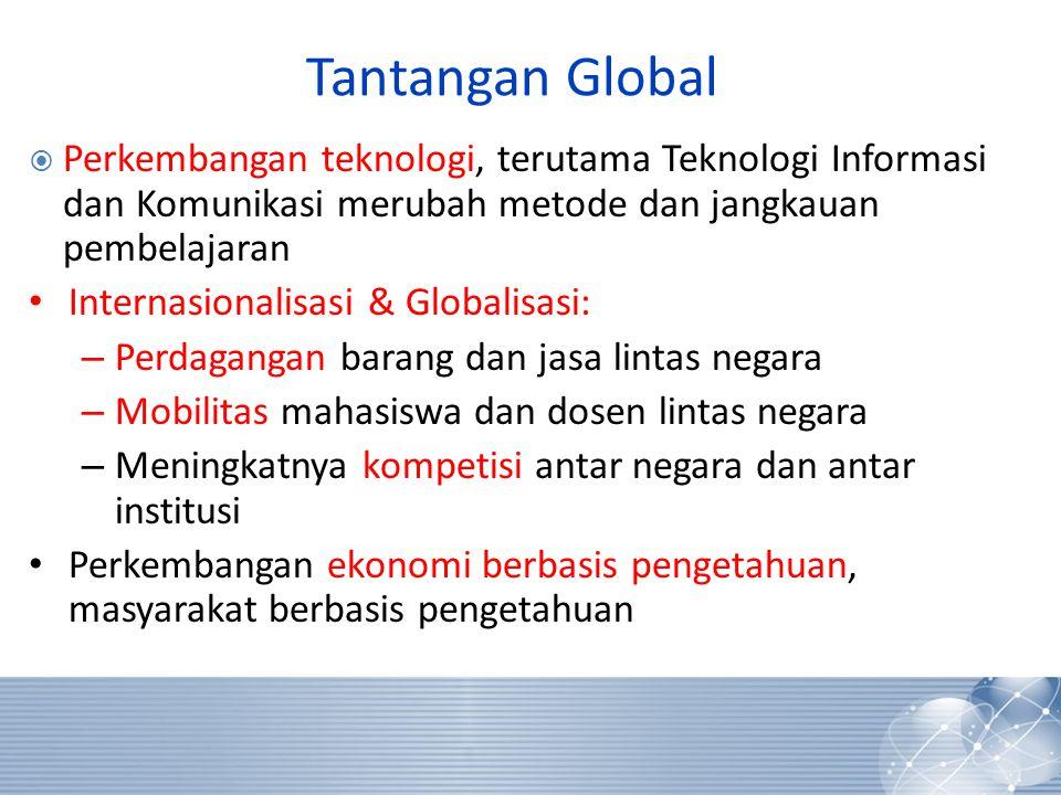 Tantangan Global  Perkembangan teknologi, terutama Teknologi Informasi dan Komunikasi merubah metode dan jangkauan pembelajaran • Internasionalisasi