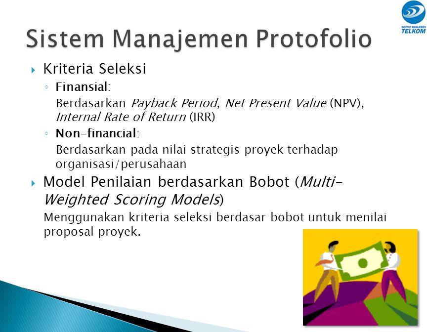 Manfaat Portofolio Proyek:  Proses pemilihan proyek menjadi lebih tertib  Mengaitkan pemilihan proyek dengan ukuran-ukuran strategis  Memprioritask