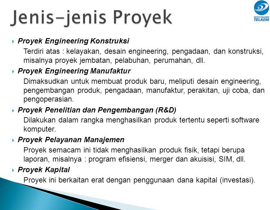  Proyek Engineering Konstruksi Terdiri atas : kelayakan, desain engineering, pengadaan, dan konstruksi, misalnya proyek jembatan, pelabuhan, perumahan, dll.