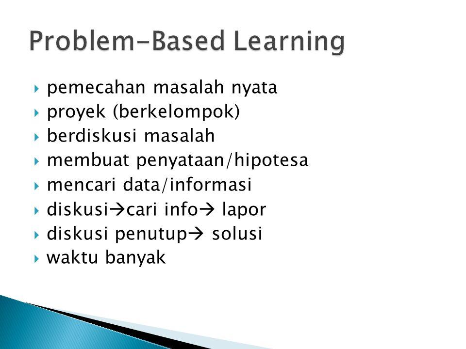  pemecahan masalah nyata  proyek (berkelompok)  berdiskusi masalah  membuat penyataan/hipotesa  mencari data/informasi  diskusi  cari info  la