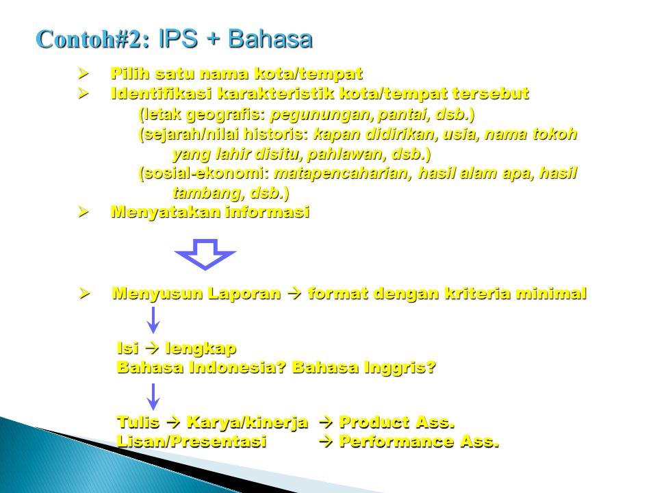 Contoh#2: IPS + Bahasa  Pilih satu nama kota/tempat  Identifikasi karakteristik kota/tempat tersebut (letak geografis: pegunungan, pantai, dsb.) (se