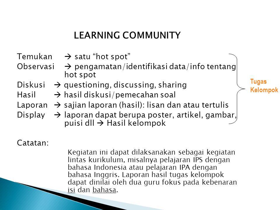 "LEARNING COMMUNITY Temukan  satu ""hot spot"" Observasi  pengamatan/identifikasi data/info tentang hot spot Diskusi  questioning, discussing, sharing"