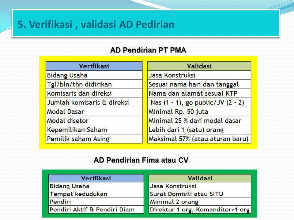 5. Verifikasi, validasi AD Pedirian AD Pendirian Fima atau CV AD Pendirian PT PMA