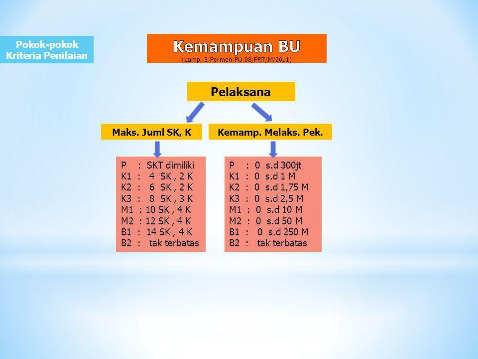 Pokok-pokok Kriteria Penilaian Pelaksana P : SKT dimiliki K1 : 4 SK, 2 K K2 : 6 SK, 2 K K3 : 8 SK, 3 K M1 : 10 SK, 4 K M2 : 12 SK, 4 K B1 : 14 SK, 4 K B2 : tak terbatas Maks.