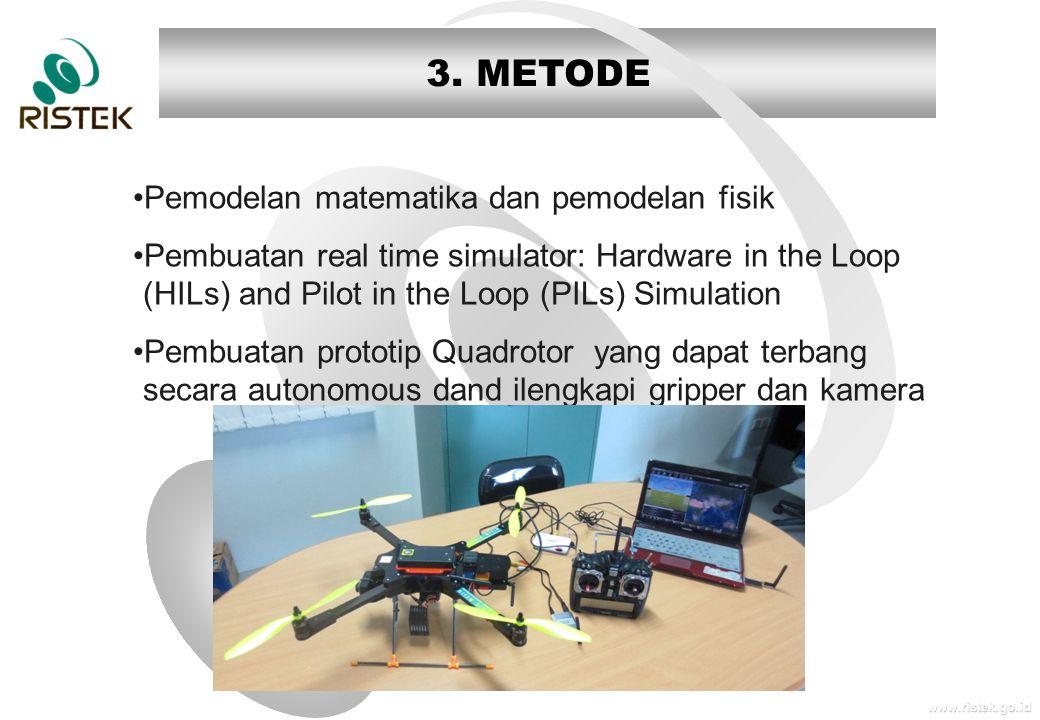 www.ristek.go.id 3. METODE •Pemodelan matematika dan pemodelan fisik •Pembuatan real time simulator: Hardware in the Loop (HILs) and Pilot in the Loop