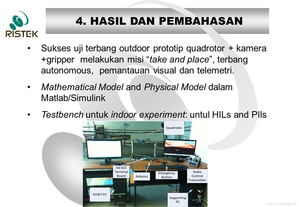 """www.ristek.go.id 4. HASIL DAN PEMBAHASAN •Sukses uji terbang outdoor prototip quadrotor + kamera +gripper melakukan misi """"take and place"""", terbang aut"""