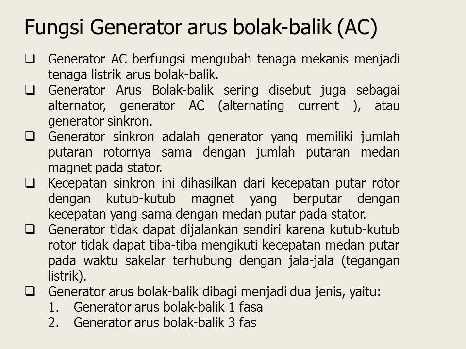  Generator AC berfungsi mengubah tenaga mekanis menjadi tenaga listrik arus bolak-balik.