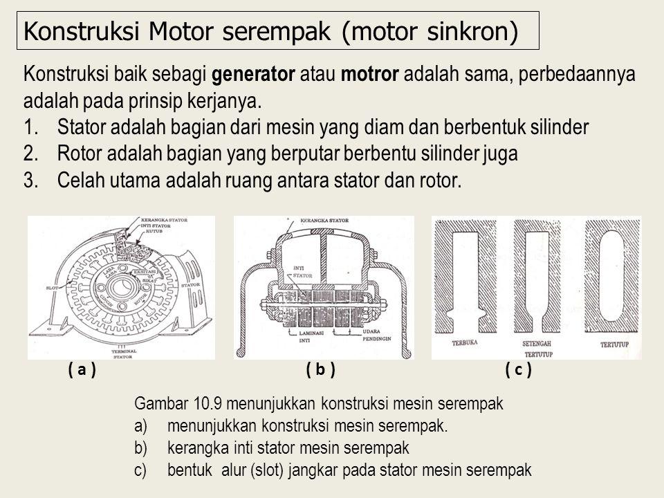 Konstruksi baik sebagi generator atau motror adalah sama, perbedaannya adalah pada prinsip kerjanya.