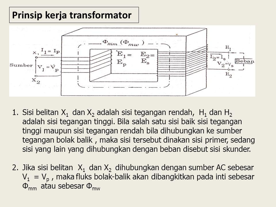 Prinsip kerja transformator 1.Sisi belitan X 1 dan X 2 adalah sisi tegangan rendah, H 1 dan H 2 adalah sisi tegangan tinggi.