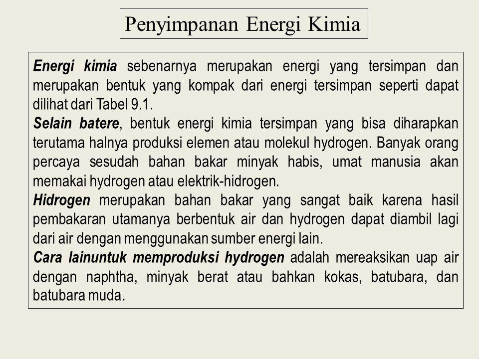 Penyimpanan Energi Kimia Energi kimia sebenarnya merupakan energi yang tersimpan dan merupakan bentuk yang kompak dari energi tersimpan seperti dapat dilihat dari Tabel 9.1.