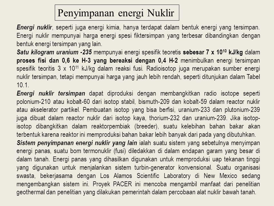 Penyimpanan energi Nuklir Energi nuklir, seperti juga energi kimia, hanya terdapat dalam bentuk energi yang tersimpan.