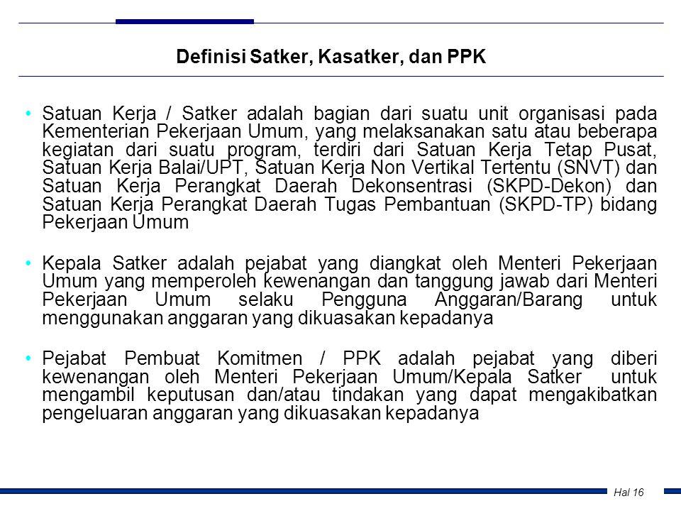 Hal 16 Definisi Satker, Kasatker, dan PPK •Satuan Kerja / Satker adalah bagian dari suatu unit organisasi pada Kementerian Pekerjaan Umum, yang melaks