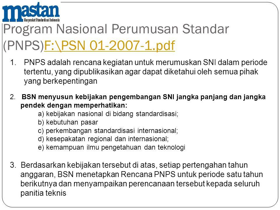 Program Nasional Perumusan Standar (PNPS)F:\PSN 01-2007-1.pdfF:\PSN 01-2007-1.pdf 1.PNPS adalah rencana kegiatan untuk merumuskan SNI dalam periode te