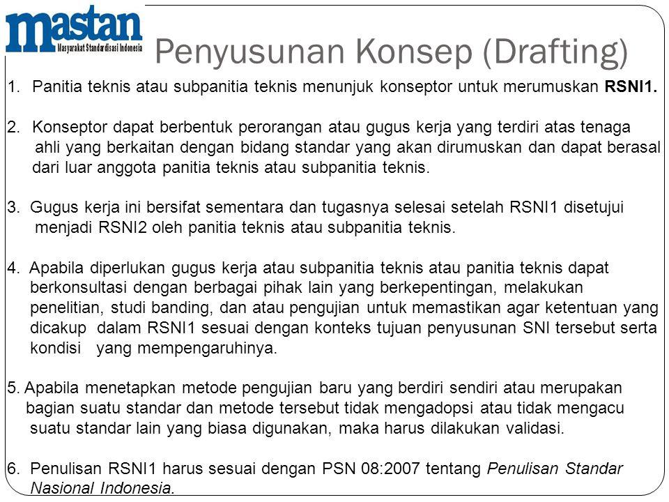 Penyusunan Konsep (Drafting) 1.Panitia teknis atau subpanitia teknis menunjuk konseptor untuk merumuskan RSNI1. 2.Konseptor dapat berbentuk perorangan