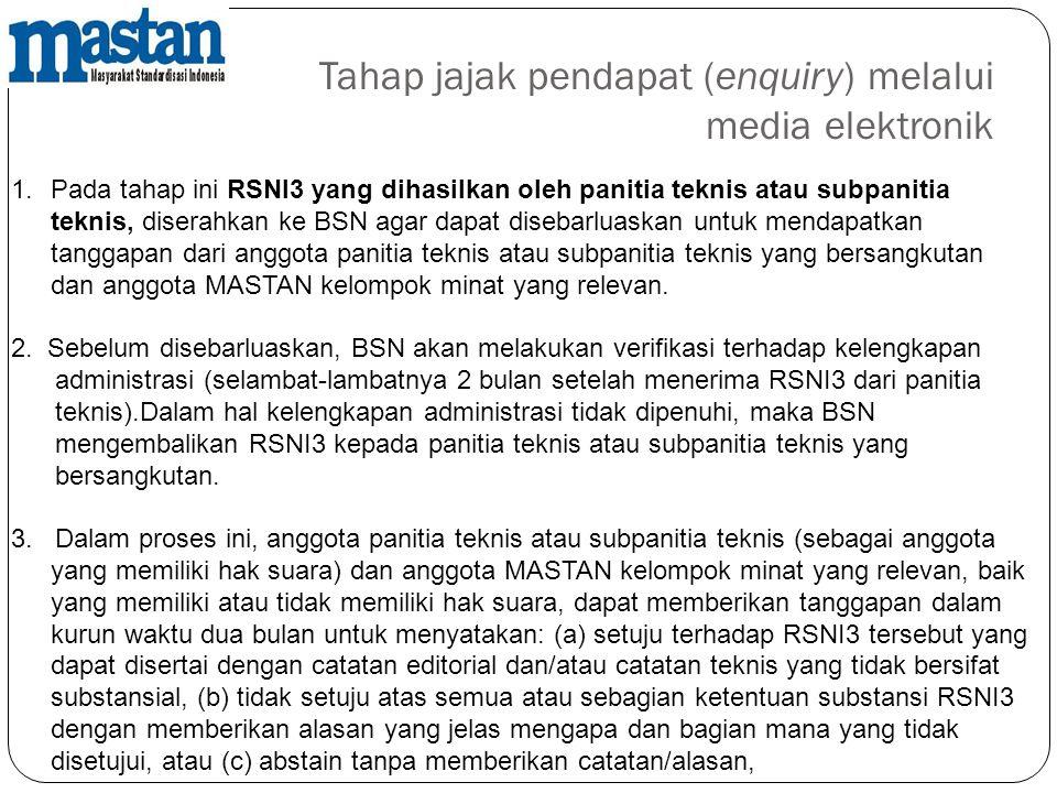Tahap jajak pendapat (enquiry) melalui media elektronik 1.Pada tahap ini RSNI3 yang dihasilkan oleh panitia teknis atau subpanitia teknis, diserahkan