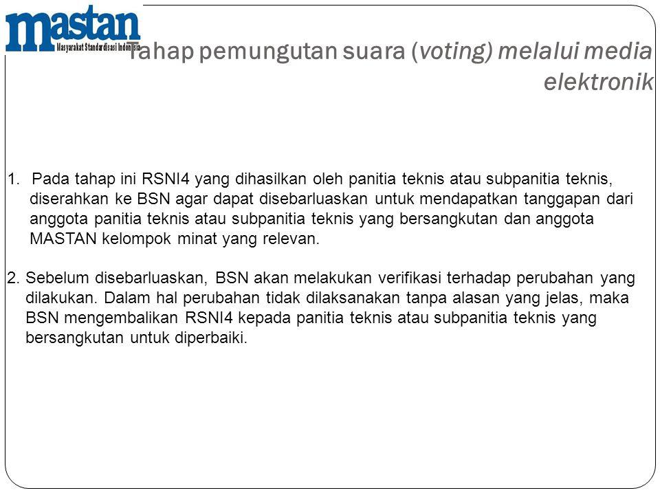 Tahap pemungutan suara (voting) melalui media elektronik 1.Pada tahap ini RSNI4 yang dihasilkan oleh panitia teknis atau subpanitia teknis, diserahkan