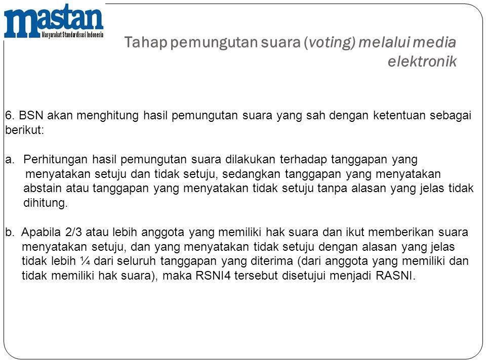 Tahap pemungutan suara (voting) melalui media elektronik 6. BSN akan menghitung hasil pemungutan suara yang sah dengan ketentuan sebagai berikut: a.Pe