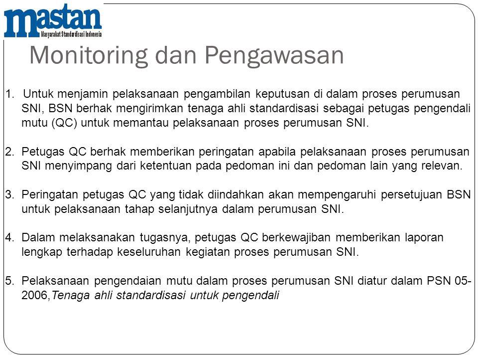 Monitoring dan Pengawasan 1.Untuk menjamin pelaksanaan pengambilan keputusan di dalam proses perumusan SNI, BSN berhak mengirimkan tenaga ahli standar