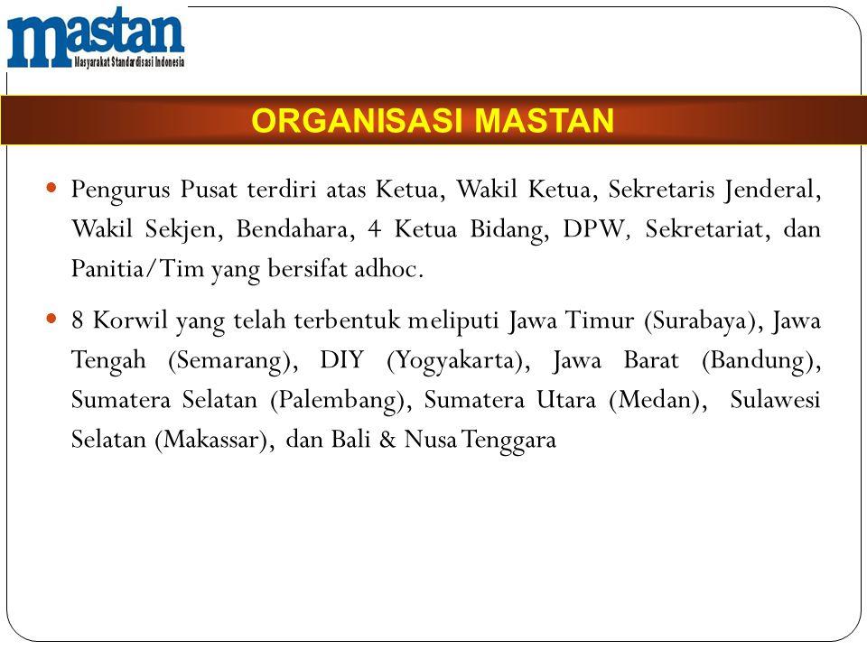  Pengurus Pusat terdiri atas Ketua, Wakil Ketua, Sekretaris Jenderal, Wakil Sekjen, Bendahara, 4 Ketua Bidang, DPW, Sekretariat, dan Panitia/Tim yang