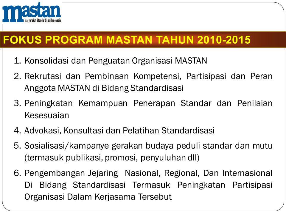 FOKUS PROGRAM MASTAN TAHUN 2010-2015 1.Konsolidasi dan Penguatan Organisasi MASTAN 2.Rekrutasi dan Pembinaan Kompetensi, Partisipasi dan Peran Anggota