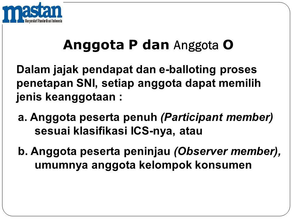 Dalam jajak pendapat dan e-balloting proses penetapan SNI, setiap anggota dapat memilih jenis keanggotaan : a. Anggota peserta penuh (Participant memb