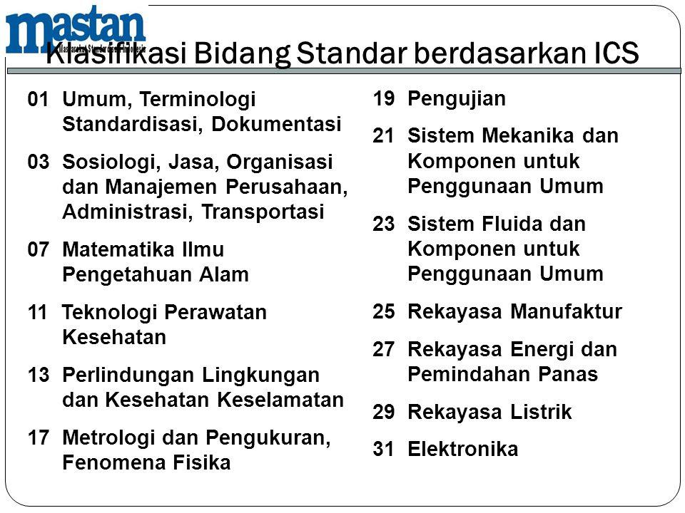 01 Umum, Terminologi Standardisasi, Dokumentasi 03 Sosiologi, Jasa, Organisasi dan Manajemen Perusahaan, Administrasi, Transportasi 07 Matematika Ilmu