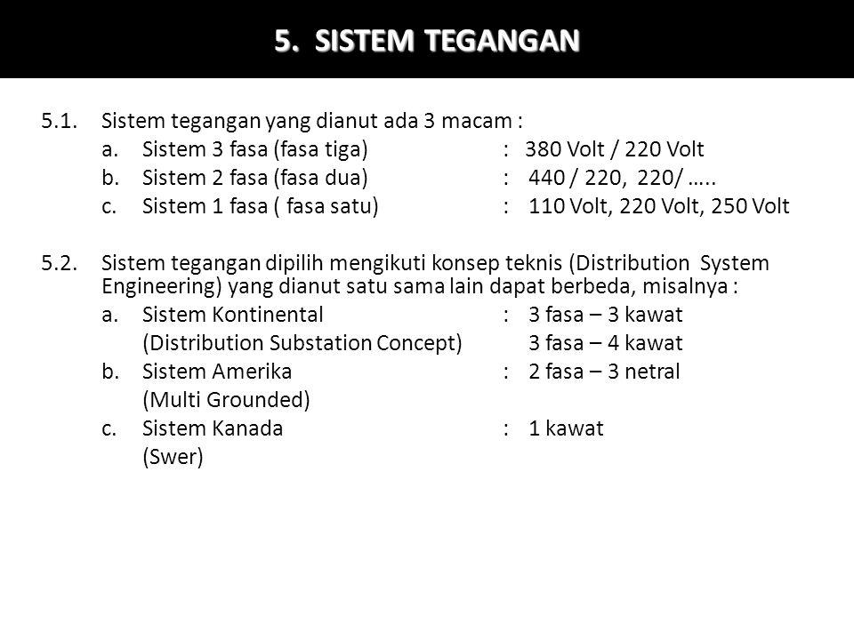 5. SISTEM TEGANGAN 5.1.Sistem tegangan yang dianut ada 3 macam : a.Sistem 3 fasa (fasa tiga): 380 Volt / 220 Volt b.Sistem 2 fasa (fasa dua):440 / 220