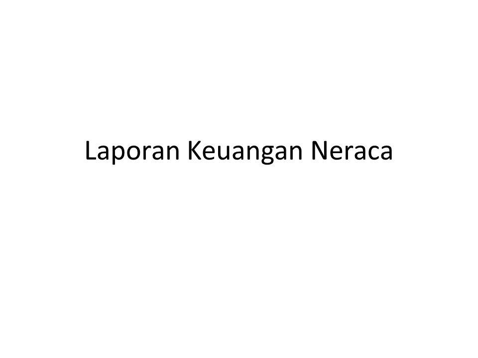 Laporan Neraca (Posisi Keuangan) • disebut juga posisi keuangan menggambarkan posisi keuangan perusahaan dalam suatu tanggal tertentu, • Mencerminkan Persamaan Akuntansi • Posisi harta, utang, modal.