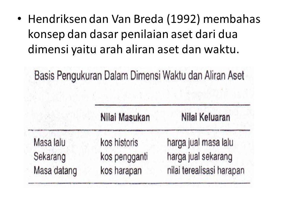• Hendriksen dan Van Breda (1992) membahas konsep dan dasar penilaian aset dari dua dimensi yaitu arah aliran aset dan waktu.