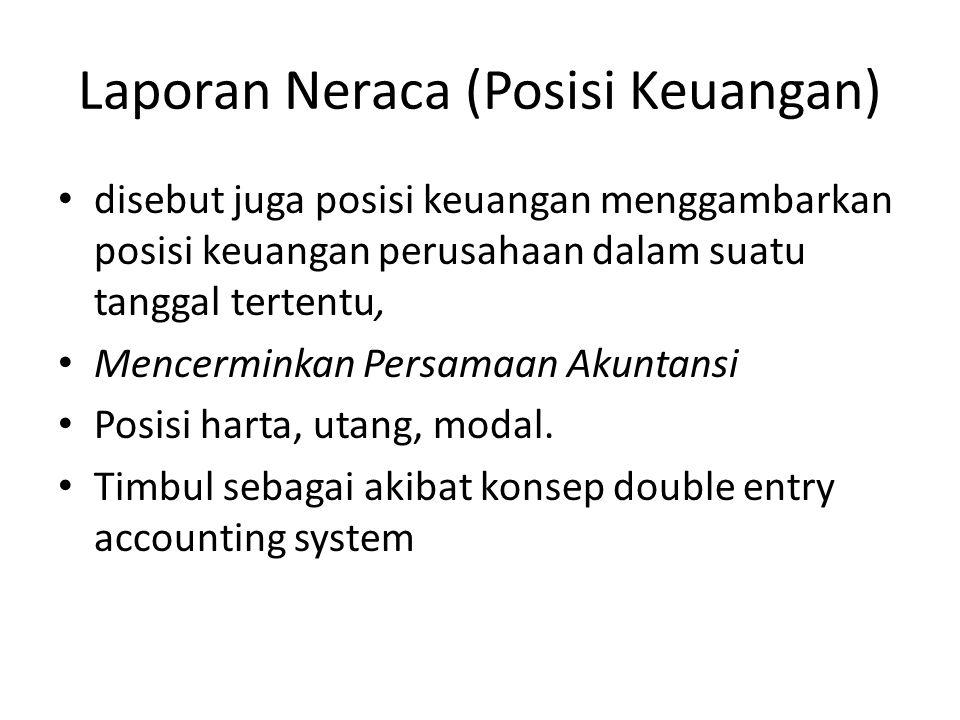 Laporan Neraca (Posisi Keuangan) • disebut juga posisi keuangan menggambarkan posisi keuangan perusahaan dalam suatu tanggal tertentu, • Mencerminkan