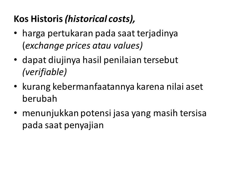 Kos Historis (historical costs), • harga pertukaran pada saat terjadinya (exchange prices atau values) • dapat diujinya hasil penilaian tersebut (veri