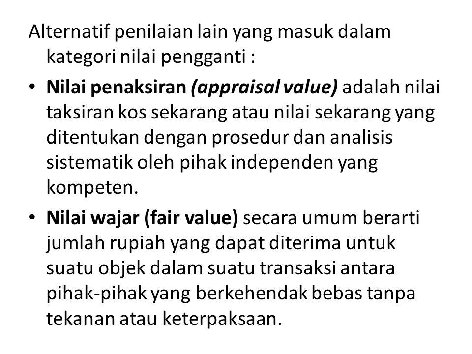 Alternatif penilaian lain yang masuk dalam kategori nilai pengganti : • Nilai penaksiran (appraisal value) adalah nilai taksiran kos sekarang atau nil