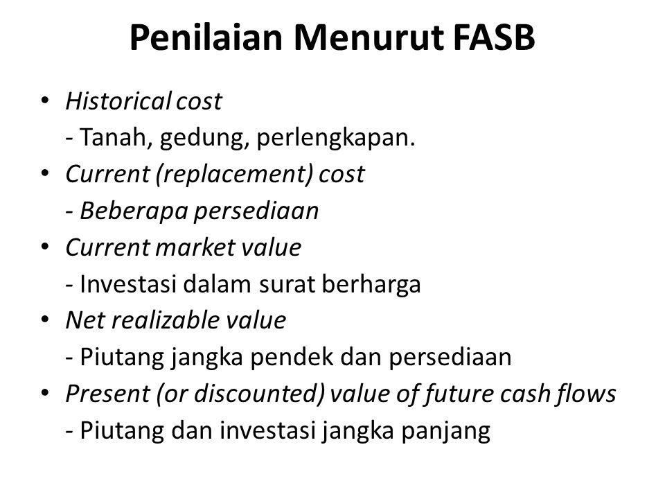 Penilaian Menurut FASB • Historical cost - Tanah, gedung, perlengkapan. • Current (replacement) cost - Beberapa persediaan • Current market value - In