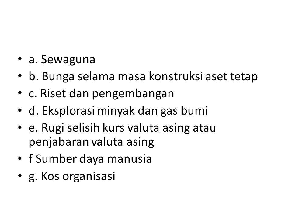 • a. Sewaguna • b. Bunga selama masa konstruksi aset tetap • c. Riset dan pengembangan • d. Eksplorasi minyak dan gas bumi • e. Rugi selisih kurs valu