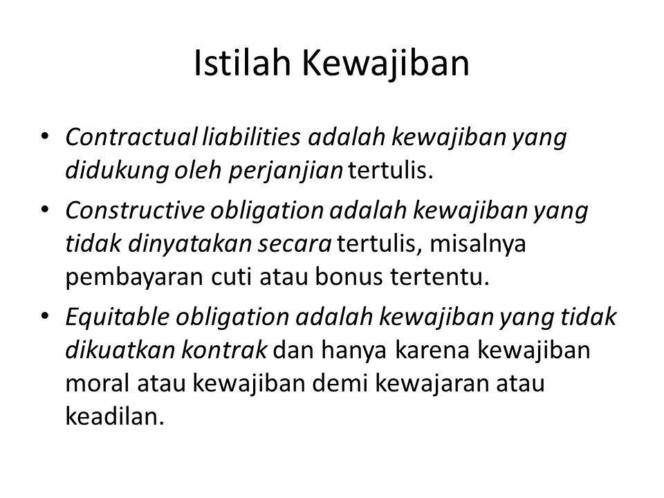 Istilah Kewajiban • Contractual liabilities adalah kewajiban yang didukung oleh perjanjian tertulis. • Constructive obligation adalah kewajiban yang t