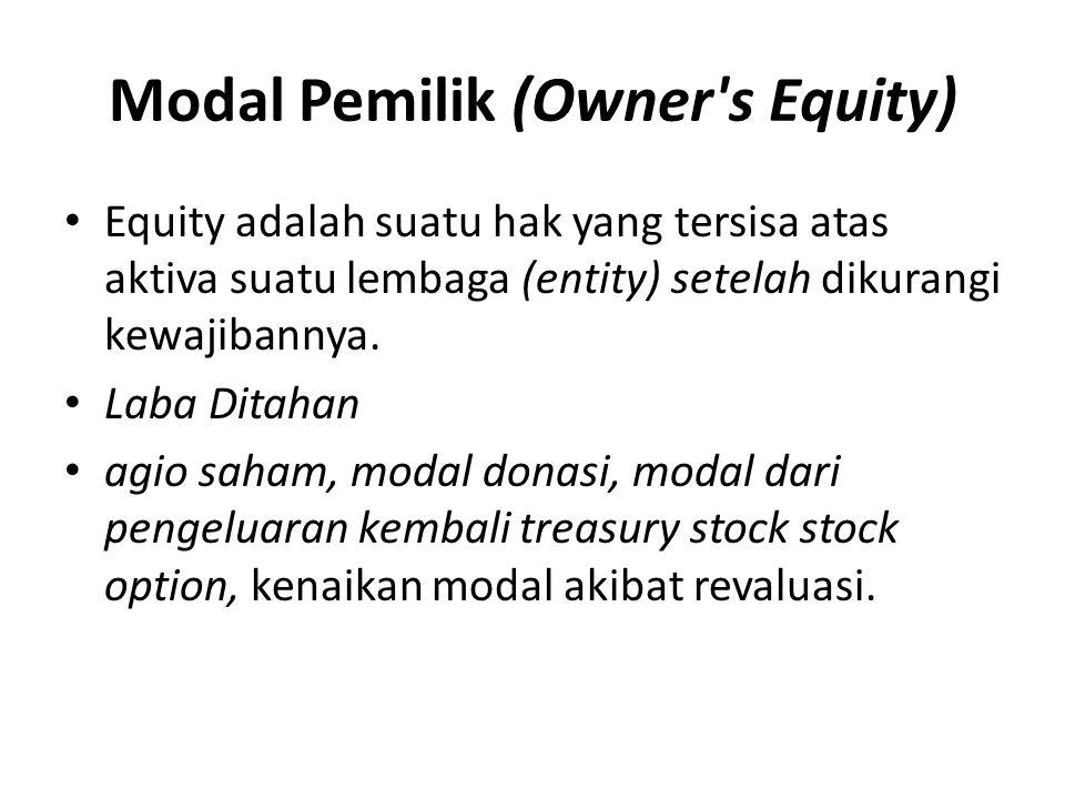 Modal Pemilik (Owner's Equity) • Equity adalah suatu hak yang tersisa atas aktiva suatu lembaga (entity) setelah dikurangi kewajibannya. • Laba Ditaha
