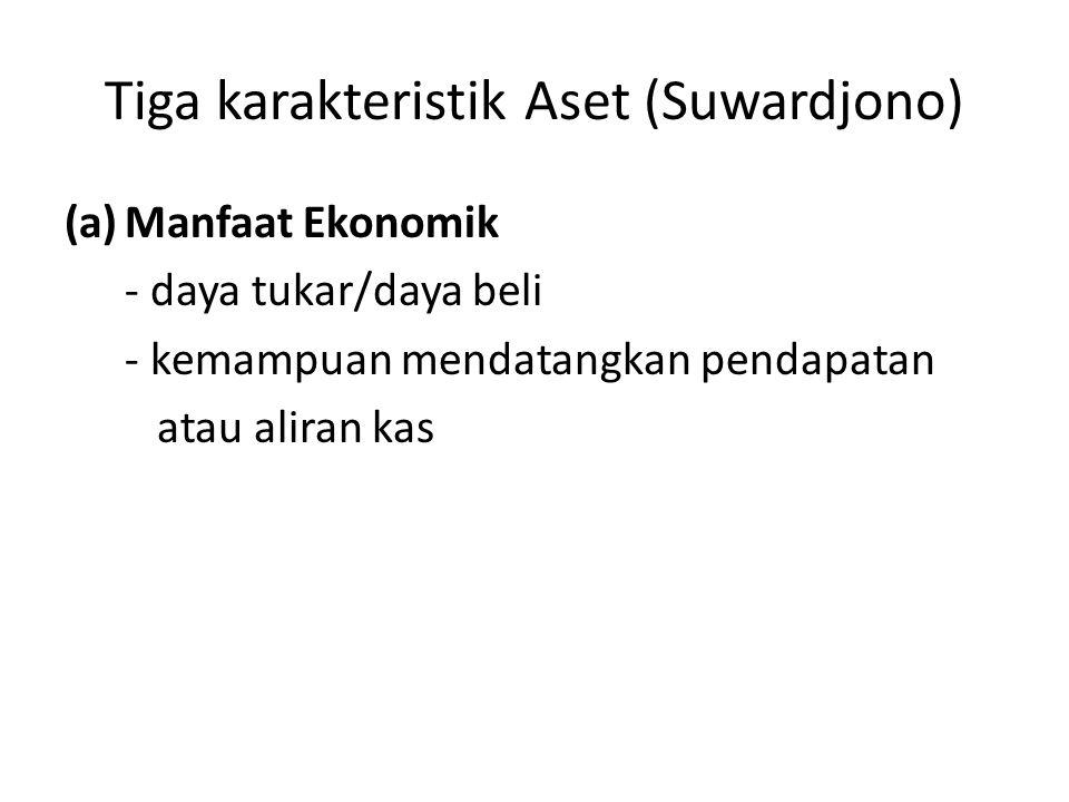 Tiga karakteristik Aset (Suwardjono) (a)Manfaat Ekonomik - daya tukar/daya beli - kemampuan mendatangkan pendapatan atau aliran kas