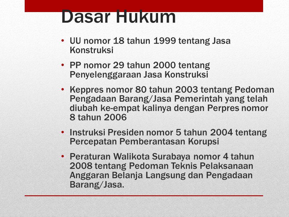 Dasar Hukum • UU nomor 18 tahun 1999 tentang Jasa Konstruksi • PP nomor 29 tahun 2000 tentang Penyelenggaraan Jasa Konstruksi • Keppres nomor 80 tahun