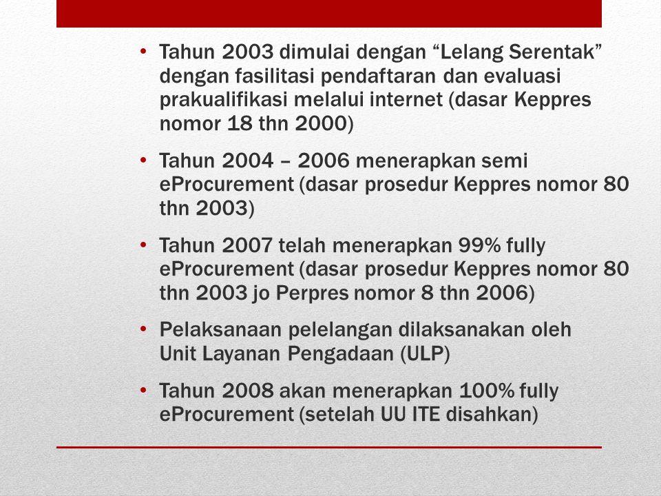 """• Tahun 2003 dimulai dengan """"Lelang Serentak"""" dengan fasilitasi pendaftaran dan evaluasi prakualifikasi melalui internet (dasar Keppres nomor 18 thn 2"""