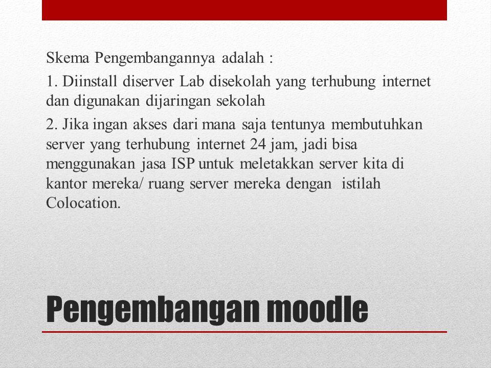 Pengembangan moodle Skema Pengembangannya adalah : 1. Diinstall diserver Lab disekolah yang terhubung internet dan digunakan dijaringan sekolah 2. Jik