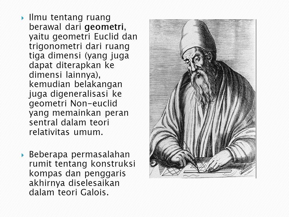  Ilmu tentang ruang berawal dari geometri, yaitu geometri Euclid dan trigonometri dari ruang tiga dimensi (yang juga dapat diterapkan ke dimensi lain