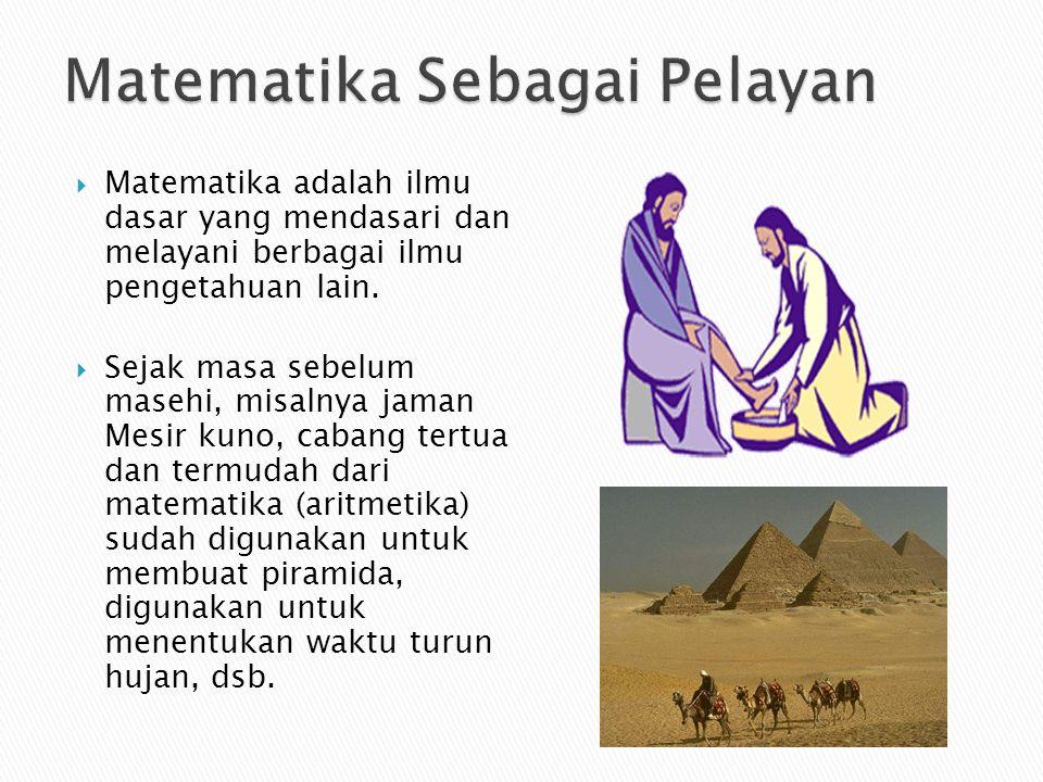  Matematika adalah ilmu dasar yang mendasari dan melayani berbagai ilmu pengetahuan lain.  Sejak masa sebelum masehi, misalnya jaman Mesir kuno, cab